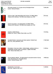 Institut Jaques-Dalcroze Liste des nouveautés